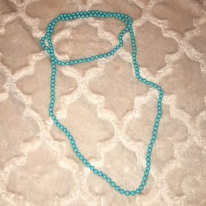 Long Beaded Turquoise Wrap Necklace